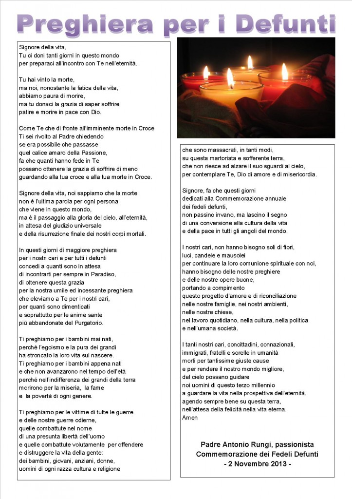 spesso PREGHIERA DI P.RUNGI PER I FEDELI DEFUNTI 2013 | PADRE ANTONIO  US32